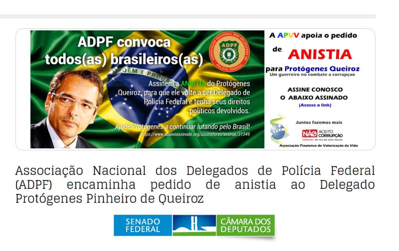 APVV Associação Piauiense de Valorização da Vida apoia o pedido de ANISTIA para Protógenes Queiroz. Um guerreiro no combate a corrupção.